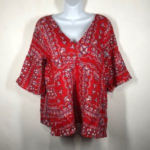 Skies are Blue red and blue blouse size small